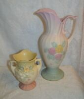 Lot of Two Hull Art Pottery Pieces_ 13 1/2 Inch Open Rose Ewer Pitcher & Vase