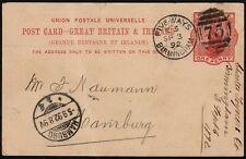 Great Britain & Ireland 1892 Stationery Card Birmingham Hamburg cancel 75