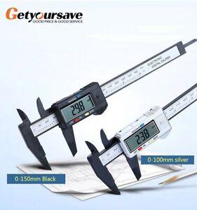 150mm Digital Caliper Vernier Electronic Micrometer 6inch Gauge Lcd Inch Carbon