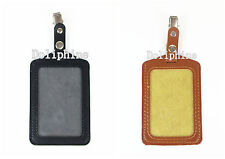 Leather Vertical Name Tag ID Badge Holder with Swivel Clip (Black, Brown)