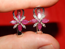Ruby & Diamond Floral Omega Back Earrings New listing 14K Solid White Gold 2.64 Tcw