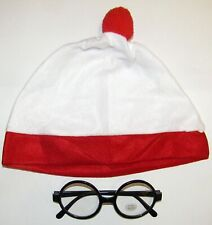 WHITE WITH RED BOBBLE HAT AND BOOK WEEK HAT THICK NO LENS GLASSES FANCY DRESS