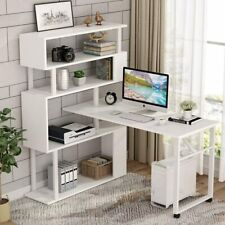 Tribesigns L-Shaped Corner Desk Rotating Computer PC Table with 5 Tier Bookshelf