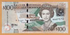 EASTERN CARIBBEAN $100 DOLLARS UNC ND(2015) P-55b Prefix WD QEII Banknotes