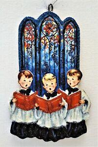 3 CHOIR BOYS, SINGING, STAINED GLASS WINDOW  Glitter CHRISTMAS ORNAMENT  Vtg Img