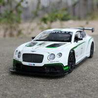 6 inch Alloy Diecast Bentley Continental #7 GT3  Model Car Toy Pull Back White