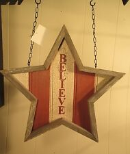 """""""RUSTIC BELIEVE STAR """" Replacement Sign - Wood Sign for Country Arrow Holders"""