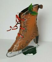 Rustic Metal Victorian Ice Skate Planter Primitive Christmas Display Decor 10""