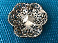 Antique Samuel Levi Birmingham 1901 Sterling Silver Pierced Small Nut Bowl Dish