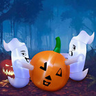 Oyydecor 6 Ft Halloween Inflatables Scary Ghost with Color Changing LEDs Decorat