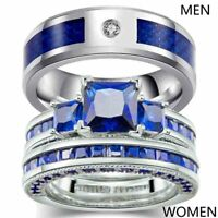 Couple Rings Titanium Steel Mens Band Princess Blue Cz Women's Wedding Ring Sets