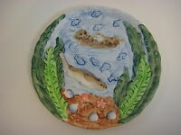 "Takahashi San Francisco Hand Painted Art Pottery Sea Otter Plate, 8"" Diameter"