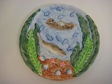 "Takahashi San Francisco Hand Painted Art Pottery Sea Otter Plate, 8"" Diameter"