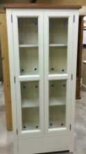 SOLID WOOD RUSTIC TOPPED GLAZED PAINTED DISPLAY CABINET WITH DRAWERS WOODEN UNIT