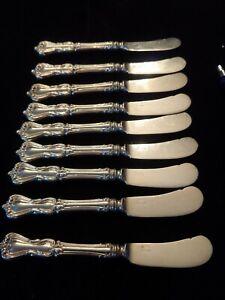 Reed & Barton Marlborough All Sterling Butter Knife Set of 9. Rare set