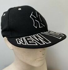 New Era 59Fifty Black NEW YORK YANKEES MLB Baseball Cap Hat Flat WOOL 6 3/8