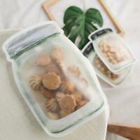10pcs Jar Shape Zipper Bag Reusable Snack Saver Food Sandwich Storage Pouch Top