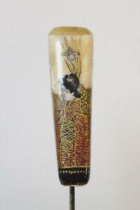 Antique Hatpin Hand-Painted Satsuma Geishas Inverted Pyramid