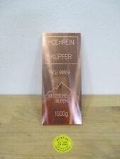 Kitzbühel Kupferbarren 1 kg Kitzbüheler Alpen  999,97 Hochrein Copper Kupfer