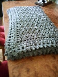 "Handmade NEW Victorian Shells Crochet Afghan Heather Grey Throw Blanket 54""X66 """