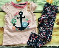 Gymboree 2T Shore to Love Anchor Flower Ruffle Top Floral Ponte Pants Pink NWT