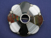 STUNNING ANTIQUE VICTORIAN SCOTTISH POLISHED AGATE SILVER BROOCH