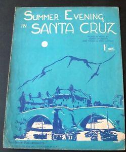 STODDON PAYAN HARTLEY SUMMER EVENING IN SANTA CRUZ SHEET MUSIC (1939) ENGLAND