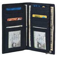Leatherboss Genuine Leather RFID Checkbook Credit Card Organiser Wallet, Black