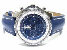 Breitling Bentley Blue Dial Stainless Steel Blue Band Chronograph A44362 Watch