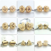 Hot 10pcs gold Retro Spacer European Charm Beads Fit Necklace Bracelet jewelry