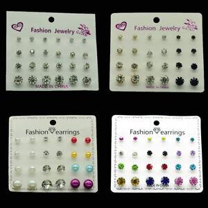 12·48 Pairs Wholesale Rhinestone Crystal Pearl Earrings Set Women Ear Studs Bulk