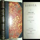 1863 ROMOLA GEORGE ELIOT 1ST EDITION 2VLS in 1 LEATHER FLORENCE ITALY CLASSIC