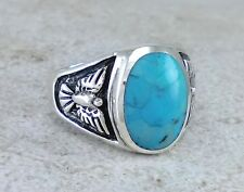 MENS 925 STERLING SILVER TURQUOISE EAGLE RING size 10 style# r2675