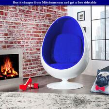 Retro Egg Pod Chair Swivel Chair Blue Interior White Fiber-Reinforced Plastic