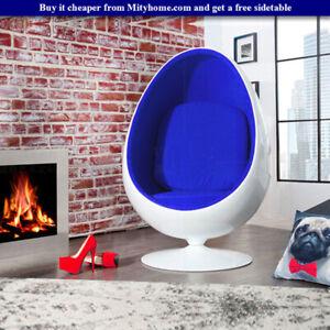 Retro Egg Pod Chair Swivel Chair Blue Interior White Fiber Glass-Reinforced