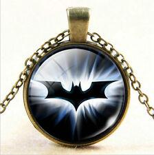 Superhero Shield Glass Cabochon Photo Batman Pendant Bronze Chain Necklace