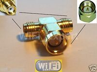 1 x SMA Male to two SMA Female triple T in series RF adapter connector 3 way USA