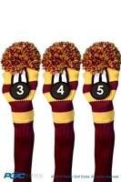 New 3 pc RED YELLOW 3 4 5 KNIT Hybrid Rescue golf club headcover Head cover