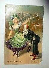 Embossed Vintage Postcard Clown & Woman dancing Romantic AT THE CARNIVAL