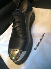 Costume National Steel Toe Shoes Black Leather Platform Lace Up Size: 36 Italy