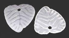 50 White Frosted Acrylic Leaves Beads Leaf Charms 15mm - Transparent Pb33