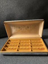 Vintage MELE Hard Case EARRING Jewelry Box Organizer Ivory & Blue Velvet