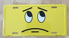 SMILE SMIRK FROWN QUESTION FACE Novelty LICENSE PLATE TAG METAL Yellow & Black