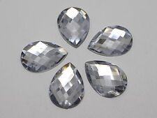 50 Clear Flatback Acrylic Rhinestone Teardrop Gems 18X25mm No Hole