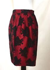 Carolina Herrera Red & Black Rose Skirt NWT Retail $415 Price $160 Size 4