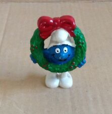 VINTAGE SMURF,CHRISTMAS WREATH SMURF PVC FIGURE-5.1906, MAIA BORGES , PORTUGAL