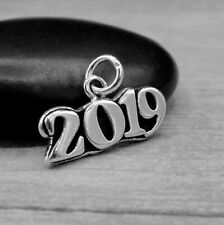 925 Sterling Silver Year 2019 Charm - Graduation New Year Pendant NEW