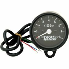 Drag Specialties Matte Black/Black Mini Electronic 8000 RPM Tach For Harley