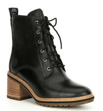 New Timberland Womens High Lace Up Block Heel Leather Waterproof Hiker Boots Zip