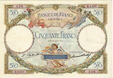 50 FRANCS LUC ET OLIVIER MERSON  A 30 /12/1927 2  épinglages cote 250 euro TTB